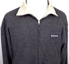 Chaps Ralph Lauren Jacket Size Medium Full Zip Reversible Charcoal + Bei... - $38.56