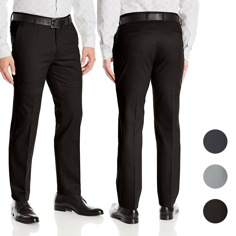 Men's Formal Slim Fit Slacks Trousers Flat Front Business Dress Pants