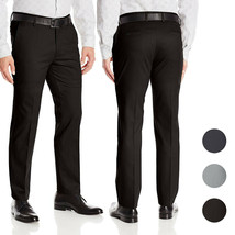 Men's Formal Slim Fit Slacks Trousers Flat Front Business Dress Pants