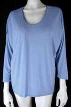 GAP Top M NEW Soft Lightweight Rayon Knit Dropped Shoulder 3/4 Sleeve Tee Blue - $5.99
