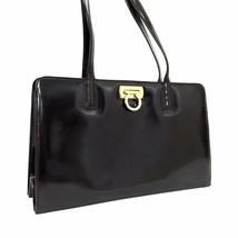 Authentic Salvatore Ferragamo Brown Leather Gancini Shoulder Bag Handbag... - $223.25