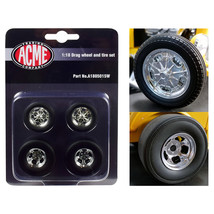 Chrome Drag Wheel and Tire Set of 4 pieces from 1932 Ford 3 Window 1/18 ... - $23.07