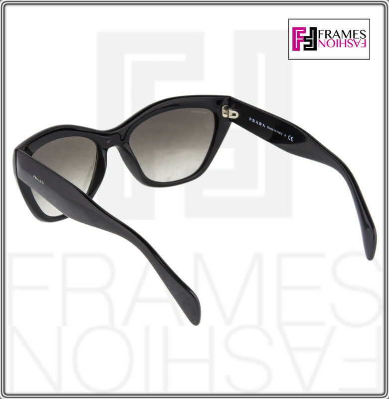 PRADA Poeme Cat Eye PR02QS Shiny Black Gradient Sunglasses 1AB-0A7 Women 02Q