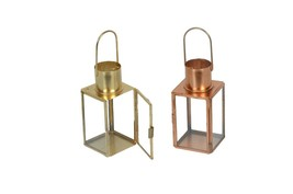 Rectangle Shape Gold/Copper Color Tealights & Candle Holder Home Decor s... - $38.61