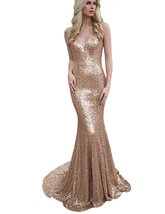 Women Long Mermaid Spaghetti Strap Paillette Evening Dresses Cocktail Prom Gowns - $115.00