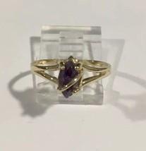 10k Yellow Gold February Amethyst Marquise Shape Women's Birthstone Ring - $84.14