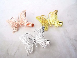 2 antique style gold , silver, rose gold/ copper butterfly alligator hai... - €9,80 EUR