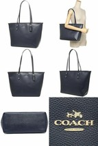 NWT Coach F83857 Zip Tote Midnight Crossgrain Saffiano Leather Navy Blue - $156.01