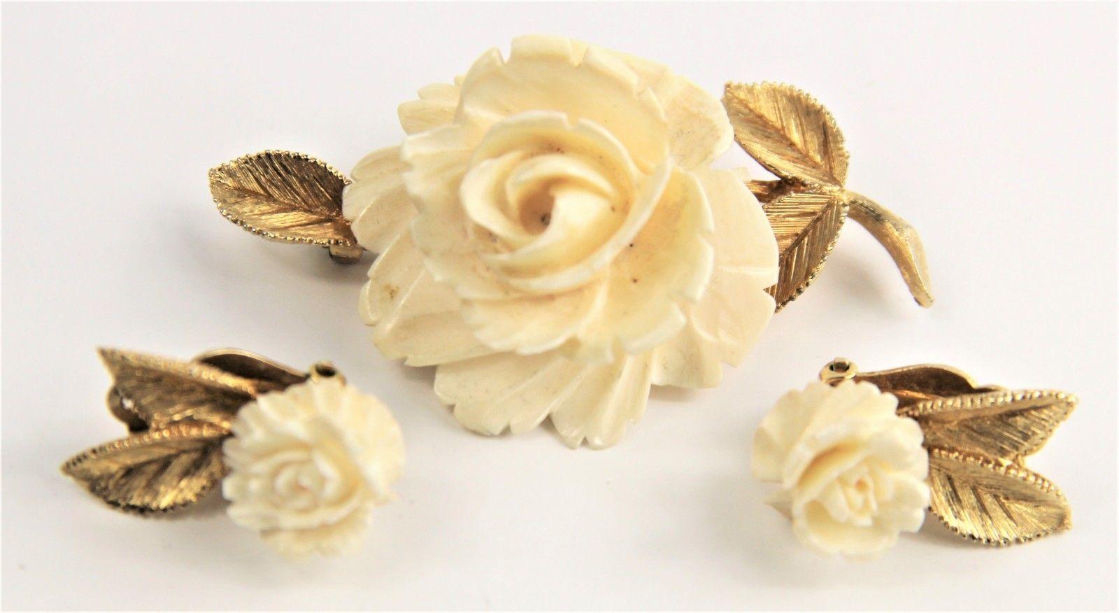 ESTATE VINTAGE Jewelry RARE SIGNED LEDO ROSE FLOWER SET BROOCH & EARRINGS