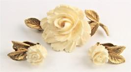 ESTATE VINTAGE Jewelry RARE SIGNED LEDO ROSE FLOWER SET BROOCH & EARRINGS - $175.00