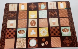 "Set of 4 same Vinyl NON CLEAR Placemats (18""x12"") COFFEE SQUARES, COFFEE... - $15.83"