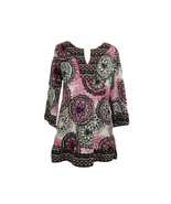 DANA BUCHMAN Women's Sz M Tunic Top Mándala Print Pink Black 3/4 Sleeve - $15.88