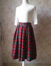 2017 Autumn Women Plaid Skirt Pleated Plaid Skirt - High Waist, Red Check,Midi  image 2