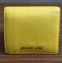 NWT Michael Kors Jet Set Sunflower Yellow Leather Bifold Card Holder Wallet - $46.75