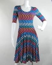 Lularoe Nicole Fit Flare Dress Boat Neck Blue Orange White Green Women's... - $32.71