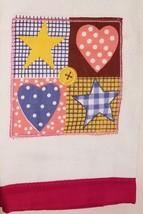 Patchwork Velour Kitchen Towel Applique Stars & Hearts Checks Dots Red image 2