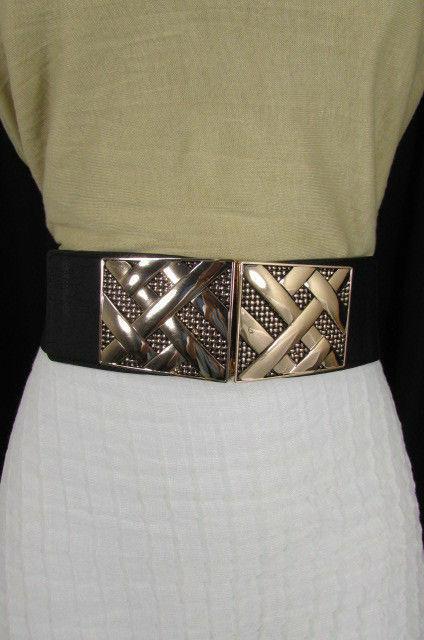 Nero,da Donna Elastico Moda Cintura Vita Metallo Oro Strisce Fibbia Quadrata S M image 9