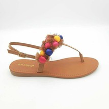 Bamboo Womens Elektra-07S Thong Sandals Tan Pink Blue Pompoms Buckle 9 EU 39 New - $17.80