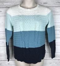 Croft Barrow Sweater Women's L Blue White Colorblock Long Sleeve Cotton ... - $8.49