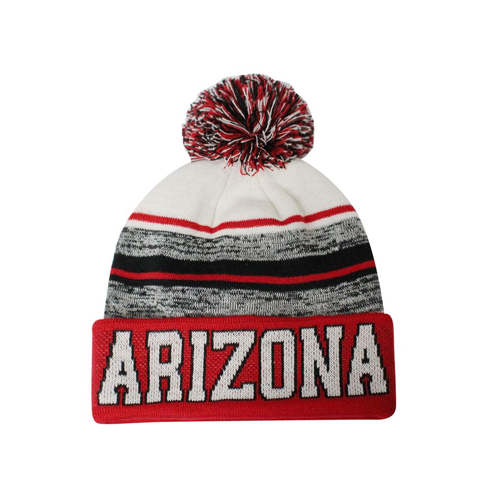 Arizona Blended Colors Men's Winter Knit Pom Beanie Hat (Red/White)