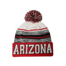 Arizona Blended Colors Men's Winter Knit Pom Beanie Hat (Red/White) image 1
