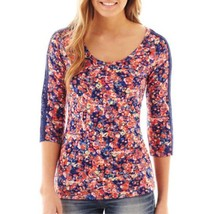 Decree 3/4-sleeve Lace Print Top Juniors Size S New With Tag Nectarine Msrp $30 - $9.99