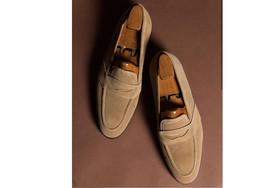 Handmade Men's Tan Suede Slip Ons Loafer Dress/Formal Shoes image 4