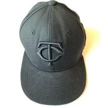 New Era Minnesota Twins Baseball All Black Fitted Hat Size 6-1/2 - $19.95