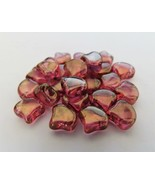 20 7.5 x 7.5 mm Czech Glass Matubo Ginkgo Leaf Beads: Luster - Pink - $1.34