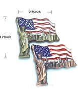 2X Copper & Bronze Colored USA Flag Shaped 3D Statue of Liberty holding ... - $7.99