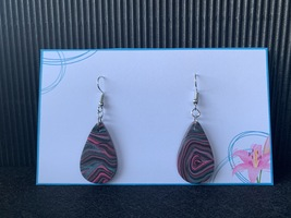 Polymer Clay Teardrop Dangles - Pink Galaxy  - $7.50