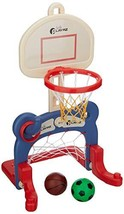 Kids 3-in-1 Sports Center: Basketball Hoop, Soccer Goal, Ring Toss Playset