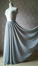 Silver Gray Chiffon Bridesmaid Skirt Floor Length Chiffon Wedding Party Skirt image 3