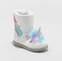 Toddler Girls Chiara Unicorn Ankle Fashion Zipper Boots Sherpa Lined Siz... - $567,32 MXN