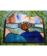 Stained Glass Window Abstract Panel champagne peach blues geode - $84.15
