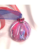 Red White & Blue Marble Swirl Acrylic Pour Hand Painted Glass Christmas ... - $9.99