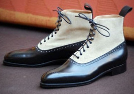 Handmade Men's Black Leather & White Suede High Ankle Lace Up Brogues Boots image 1