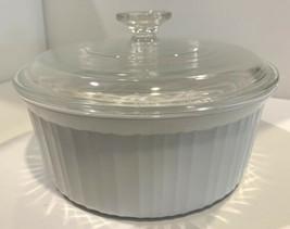 Corning Ware Round Baking Casserole Dish & Lid French White F-1-B Pyroceram - $28.50