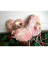 3 Christmas Ornament Ornaments Pink Pearls Lace 1980s Victorian Style Bo... - $18.00
