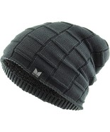 KBW-276 DGY Thick Box Knit Slouch Beanie - $12.87