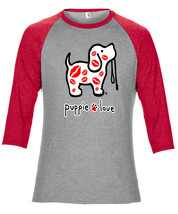 Adult Unisex Rescue Dog Adult Tri-Blend 3/4 Sleeve Raglan Tee, Kisses Pup