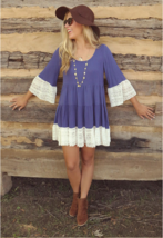 Boho Oversize Highlander Lace Tunic Dress  Blue Brown - $19.79