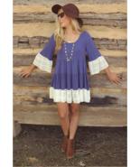 Boho Oversize Highlander Lace Tunic Dress  Blue Brown - $19.79