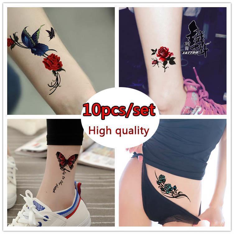 10pcs/set COLORFUL Butterfly Flower Body Art Sexy Waterproof Temporary Tattoo - $4.45
