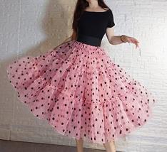 Pink Polka-Dot Puffy Tutu Skirt Outfit A-line Layered Plus Size Puffy Midi Skirt image 1