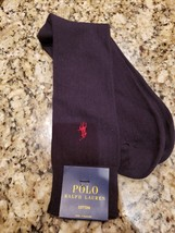 Polo Ralph Lauren Logo Navy Blue COTTON/NYLON Ribbed Dress Socks 1 Pair $12 Nwt - $7.64