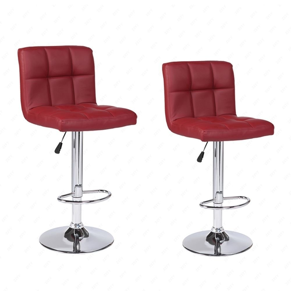 Eight24hours Modern Set Of 2 Bar Stools Leather Chair Adjustable Swivel Red Wine Office Furniture