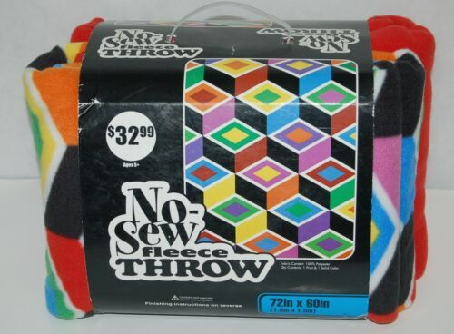 No Sew Fleece Throw Set Abstract Shape Print One Hundred Percent Polyester