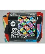 No Sew Fleece Throw Set Abstract Shape Print One Hundred Percent Polyester - $34.98