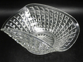 "Imperial Monticello Waffle Block 9"" Clear Glass Bowl w turned up sides - $15.21"